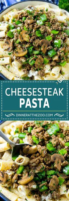 Philly Cheesesteak Pasta | Ground Beef Pasta | Creamy Pasta #phillycheesesteak #beef #pasta #peppers #mushrooms #dinner #dinneratthezoo