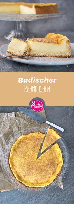 Traditioneller, badischer Rahmkuchen mit Hefeteig-Boden und cremiger Rahmschicht.