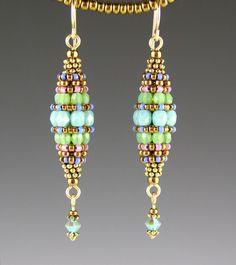 Turquoise Beaded Bead Earrings by beadedartjewelry on Etsy
