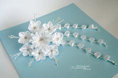 White Tsumami Kanzashi Wedding Satin Fabric Flower Hair Comb Bridal Bridesmaids Flower Girls