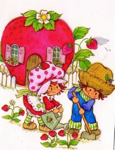 Strawberry Shortcake Vintage Working in the garden