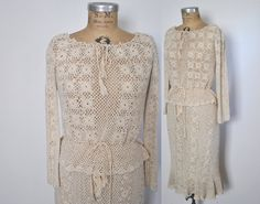 Amazing crochet two piece set from the 1970's.