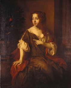 """Lady Elizabeth Percy, Countess of Ogle"" by Sir Peter Lely (1679-1680) in the Royal Collection, UK - From the curators' comments: ""Three-quarter-length portrait of Lady Elizabeth Percy, Countess of Ogle (1667-1722), seated, wearing an olive-green dress, pointing with her left hand; a parrot pearched in an orange tree, planted in a large teracotta pot on the left"""