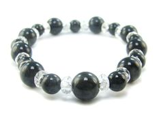 BB0760 Obsidian Clear Quartz Natural Crystal Gemstone Stretch Bracelet - See more at: http://waggashop.com/wagga-shop-bb0760-obsidian-clear-quartz-natural-crystal-gemstone-stretch-bracelet