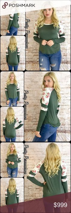 """Olive Varsity Striped Contrast Floral Print Top NWT Olive Varsity Striped Contrast Floral Print Top  Available in S, M, L Measurements taken from a small  Length: 29"""" Bust: 34"""" Waist: 36""""  Rayon/Spandex  Made in USA  Features  * Long sleeves * Contrast floral print  * Rounded neckline * Regular relaxed, easy fit * Lightweight, soft, breathable material w/stretch  Bundle discounts available  No pp or trades   Item # 1/105130360VSFT floral print olive varsity striped Pretty Persuasions Tops"""