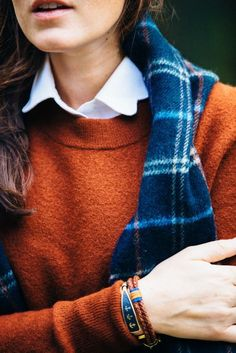 Burnt orange and crisp white paired with navy.