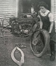Mrs. John Lang (her first name is now lost to us) of Connecticut was one of the most accomplished motorcyclist mechanics of her day. Circa 1927. (Image from The American Motorcycle Girls: http://www.amazon.com/The-American-Motorcycle-Girls-Motorcyclists/dp/0981727050/ref=pd_cp_b_3)