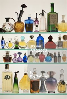 Perfume Bottles In Display Cabinet, Close-up