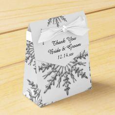 Faux Silver Snowflakes Winter Wedding Favor Box