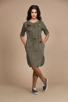Платье ALANI 516 хаки купить с доставкой по России   Интернет-магазин BelaRosso-shop.ru