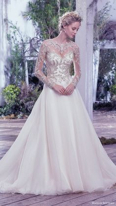 maggie sottero bridal fall 2016 illusion long sleeves sweetheart jewel neck ball gown wedding dress (lorenza) mv romantic