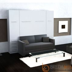 InLine Murphy Bed with Hutches and Sofa master bedroom. specs onsite. http://bredabeds.com/murphy-beds/shop-inline-collection/inline-murphy-bed-w-hutches-and-sofa.html