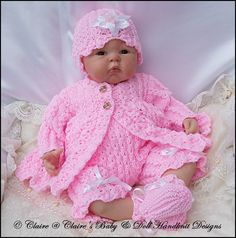 "Chain Stitch Matinee Set 16-22"" doll (preemie-3m+ baby)-knitting pattern, reborn, baby, matinee, babydoll handknit designs"
