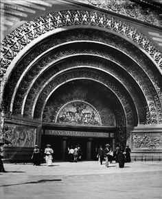 1893 Chicago World's Fair. Entrance to Transportation Building, Louis Sullivan. The interior of Radio City Music Hall was inspired by this. Chicago City, Chicago Illinois, Architecture Old, Architecture Details, Monuments, Louis Sullivan, World's Columbian Exposition, City Buildings, Chicago Buildings