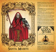 Santa Muerte 7Day Candle Label  RED by TheVodouStore on Etsy, $1.50