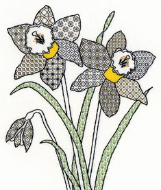Daffodils Blackwork (XBW7) Blackwork embroidery kit design by Eleanor Friston for Bothy Threads. Contents: 14 count white aida, stranded cottons, metallic threads, gold beads, chart, needle and full instructions. Size: 28cm x 33cm RRP £24.99