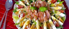 Fit salad with couscous and egg - salatki - Makaron Pasta Salad, Cobb Salad, Salmon Salad, Couscous, Asparagus, Potato Salad, Eggs, Meat, Vegetables