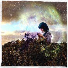 starry, sky, nebula, galaxy, girl, colored hair