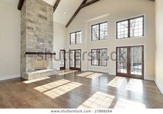 Living Room Two Story Stone Fireplace Stock Photo (Edit Now) 27889264