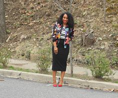 Style & Poise: Floral Bombed. Mixed Prints, Floral Bomber Jacket, Striped Tank, Pencil Skirt, Jimmy Choo pumps