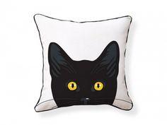 Found it at Wayfair - Yellow Eyes Cat Reversible Cotton Throw Pillow Modern Throw Pillows, Accent Pillows, Decorative Throw Pillows, Toss Pillows, Yellow Cat, Yellow Eyes, Crazy Cat Lady, Crazy Cats, National Cat Day