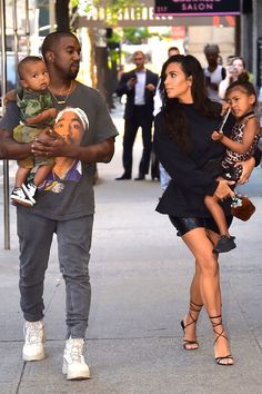 Kanye West, Saint West, Kim Kardashian, and North West #familygoals ❤