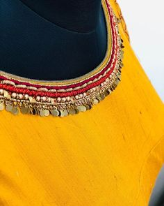 Fluorescent colour combination blouse , made for reddy… Hand Embroidery Dress, Kurti Embroidery Design, Embroidery Neck Designs, Embroidery On Clothes, Embroidery Fashion, Beaded Embroidery, Embroidery Stitches, Kurta Neck Design, Saree Blouse Neck Designs
