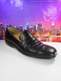 Mens shoes COLE HAAN blk leather NIKE AIR drivers ITALY dress loafers sz 11 M #ColeHaan #LoafersSlipOns