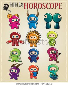 Zodiac signs with cute ninja characters in different colors, vector