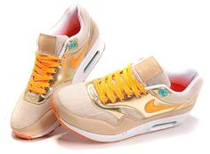 the best attitude 93439 48d19 Billige Nike Air Max 1 Gull Gul Online Hvit Dame Sko 429.88kr