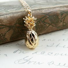 Gold Pineapple Necklace on Gold Filled Chain