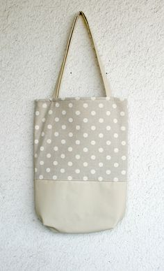 Leather and polka dots cotton Tote Bag Leather by HelloVioleta, $69.00