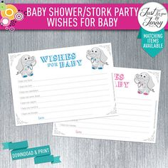 Elephant theme WISHES FOR BABY | new mommy | Printable | Digital by JustForYouByJenny on Etsy Custom Party Invitations, Elephant Theme, Wishes For Baby, Printables, Baby Shower, Handmade Gifts, Digital, Etsy, Baby Sprinkle Shower