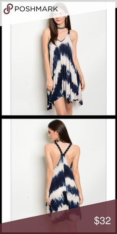 🆕🦋Navy and Tan Sleeveless Tie Dye Jersey Dress🦋 Navy and Tan Sleeveless Tie Dye Jersey Tunic Dress. This is just beautiful and unique, I like the straps on the dress. This is your go to dress for comfort. Fits true to size. The material is 96% Rayon and 4% Spandex. Dresses Asymmetrical