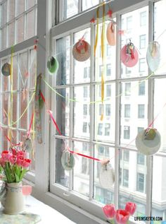 BYW-ROAD-TRIP Holly's decorations in the windows at the Blogging Your Way Workshop in March 2012, Soho, NYC.
