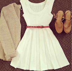 White dress with pink belt, brown shoes and  nude cardigan sweater
