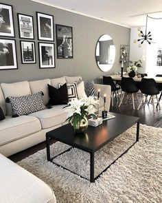 Best Small Living Room Decoration Ideas You Must Have - Home Design Remodelling Ideas Decor Home Living Room, Living Room Grey, Living Room Modern, Living Room Designs, Bedroom Decor, Small Living, Black Living Room Furniture, Gray Home Decor, Living Room Decorating Ideas