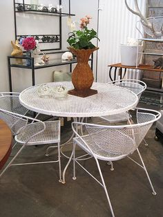 Mid Century Patio Chairs Wrought Iron 5 Pieces Set 4