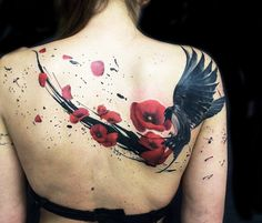 Crow and Rose tattoo by Ivan Trapiani