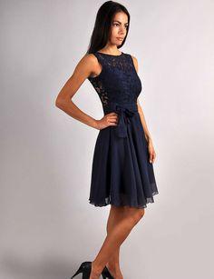 Bridesmaid Navy Blue Dress.Navy blue wedding.Sleeveless Dress Lace.Evening Gown Formal .