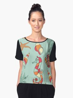 Marine Seahorse Seashell Ocean Pattern Women Chiffon Top Scrapbooking Ocean Pattern design with seahorse , starfish , seashell • Also buy this artwork on apparel, stickers, phone cases, and more. #WomenFashion #ChiffonTop #Women #CasualWear #Gift #Lisaliza #RedbubbleWomen #Redbubble #Pattern #Elegant #Classy #Marine #Seahorse