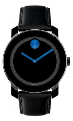 Movado Bold Medium Black Watch With Blue Dot
