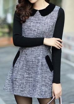 business casual dress with peter pan collar and long sleeves, pockets, grey and black Cute Dresses, Casual Dresses, Fashion Dresses, Dresses With Sleeves, Work Attire, Pretty Outfits, Tweed, Korean Fashion, Designer Dresses