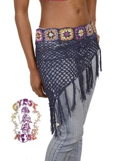 SHAKE RATTLE N' ROLL CROCHET HIP SCARF WITH FRINGE
