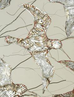 Detail of Flying dunlin. Copper wire and Tunnock Teacake wrappers. By Celia Smith Bird Sculpture, Abstract Sculpture, Garden Sculptures, Metal Sculptures, Bronze Sculpture, Chicken Wire Art, World Birds, Copper Art, Flower Graphic