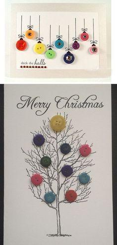 DIY Button Cards   Click for 20 DIY Christmas Card Ideas for Families   DIY Christmas Cards for Kids to Make