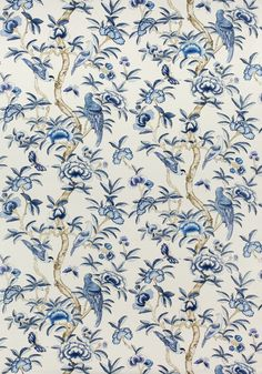 F914224 GISELLE Printed Fabrics Blue and White from the Thibaut Imperial Garden collection