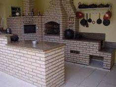 Resultado de imagen para area de serviço com churrasqueira e fogão a lenha
