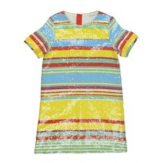 Bring some summer-time glamour to your girl's wardrobe with this dress from Little Marc Jacobs. The garment features an all-over multi-coloured stripe patter, which helps to bring a fun pop of colour that is perfect for summer. Whilst the sequin texture brings a glamour feel to the piece. The garment is completed with a zip fastening on the back – allowing easy access.