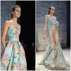 Michael Costello Floral and Lace Gowns